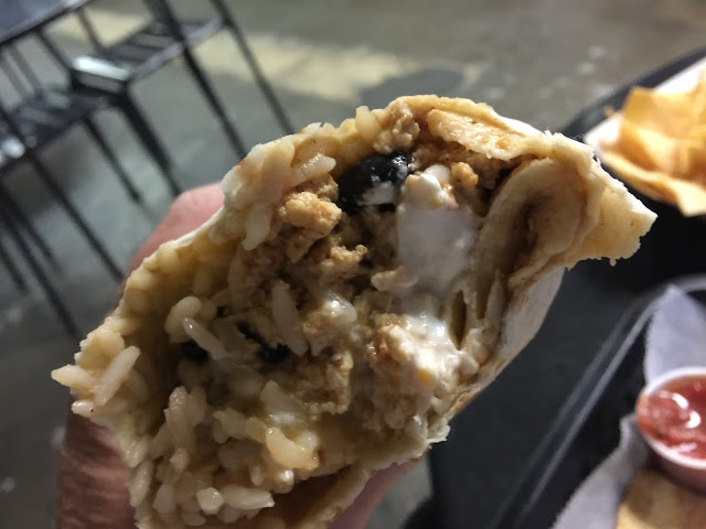 Big V tofu burrito at NOTO Burrito in Topeka, Kansas