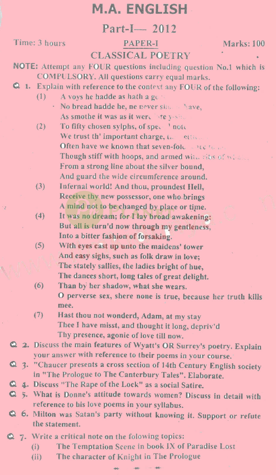 ma english part 1 past papers punjab university 2012 classical poetry