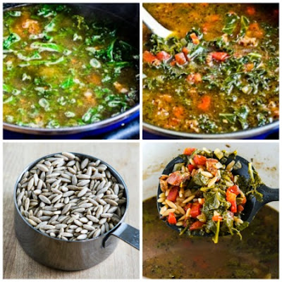 Italian Sausage and Kale Soup Recipe with Whole Wheat Orzo (or broken spaghetti) found on KalynsKitchen.com