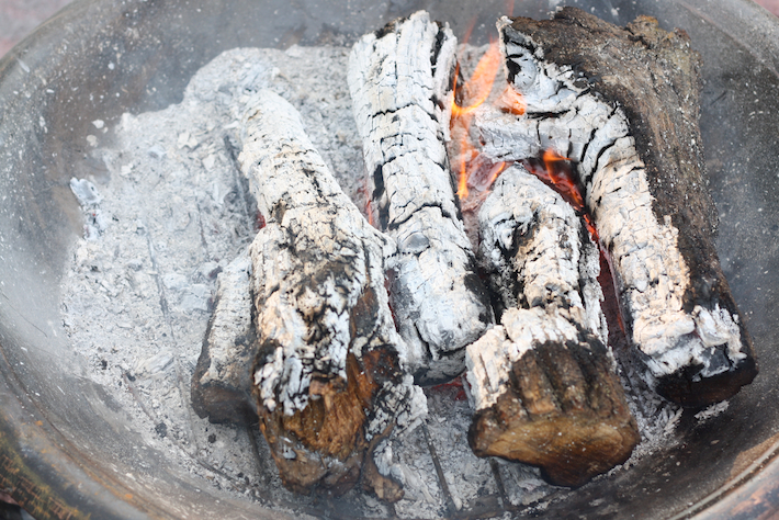 wood embers for cooking tandoori chicken