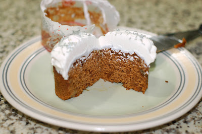 Pumpkin Gingerbread Cupcakes with a Cool Whip and cream cheese frosting