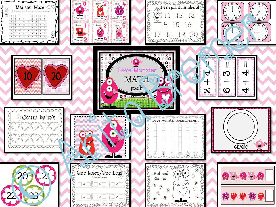 Valentine's Day themed math center activities for Kindergarten