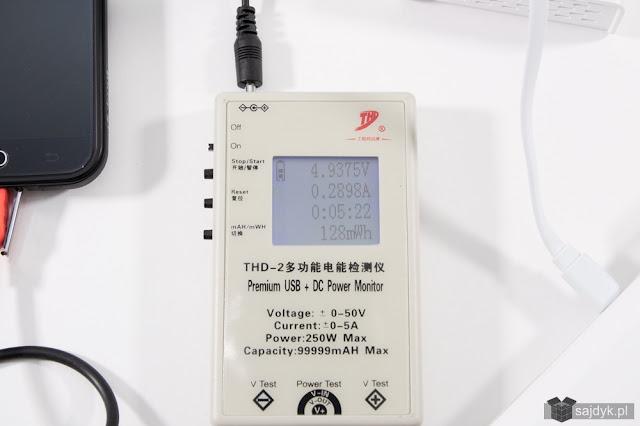 Prąd przekazywany z PB do telefonu wynosił ~0,29A