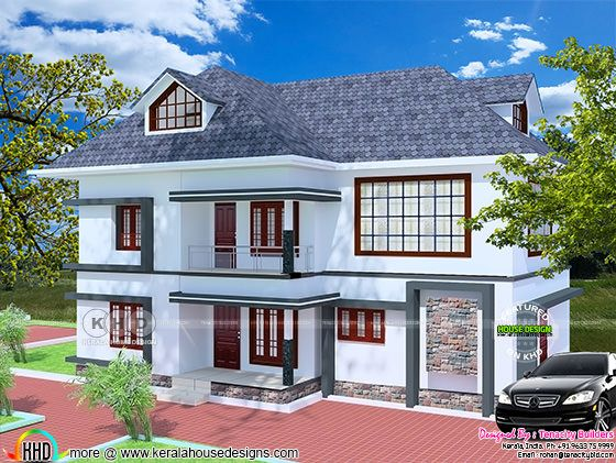 Floor plan and elevation of 5 bedroom 2568 sq-ft home
