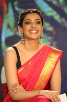 Kajal Aggarwal in Red Saree Sleeveless Black Blouse Choli at Santosham awards 2017 curtain raiser press meet 02.08.2017 071.JPG