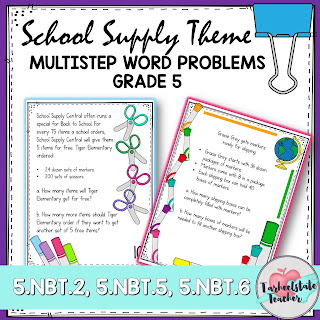 Multistep Word Problems for 4th grade 5th grade for math test prep