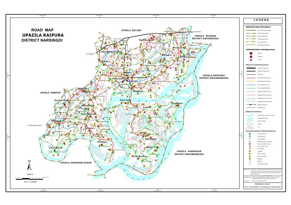 Raipura Upazila Road Map Narsingdi District Bangladesh