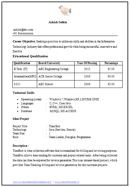 Fresher Mechanical Engineering Resume Over 10000 Cv And Resume Samples With Free Download: Cv