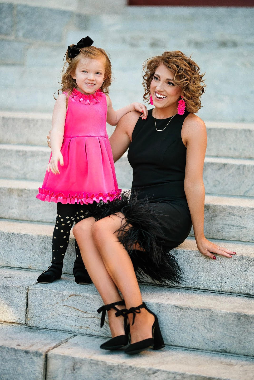 Mommy & Me Holiday Style: Pink & Black, Feather Hem Dress, Ruffle Hem Dress - Something Delightful Blog