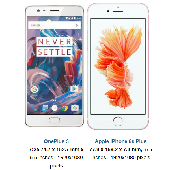 OnePlus 3 And Apple iPhone 6s Plus