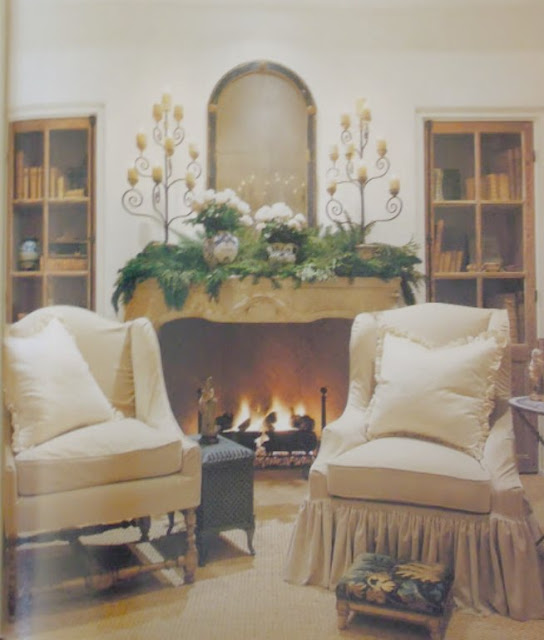 image result for Pam Pierce living room fireplace mantel Christmas decorating holiday French