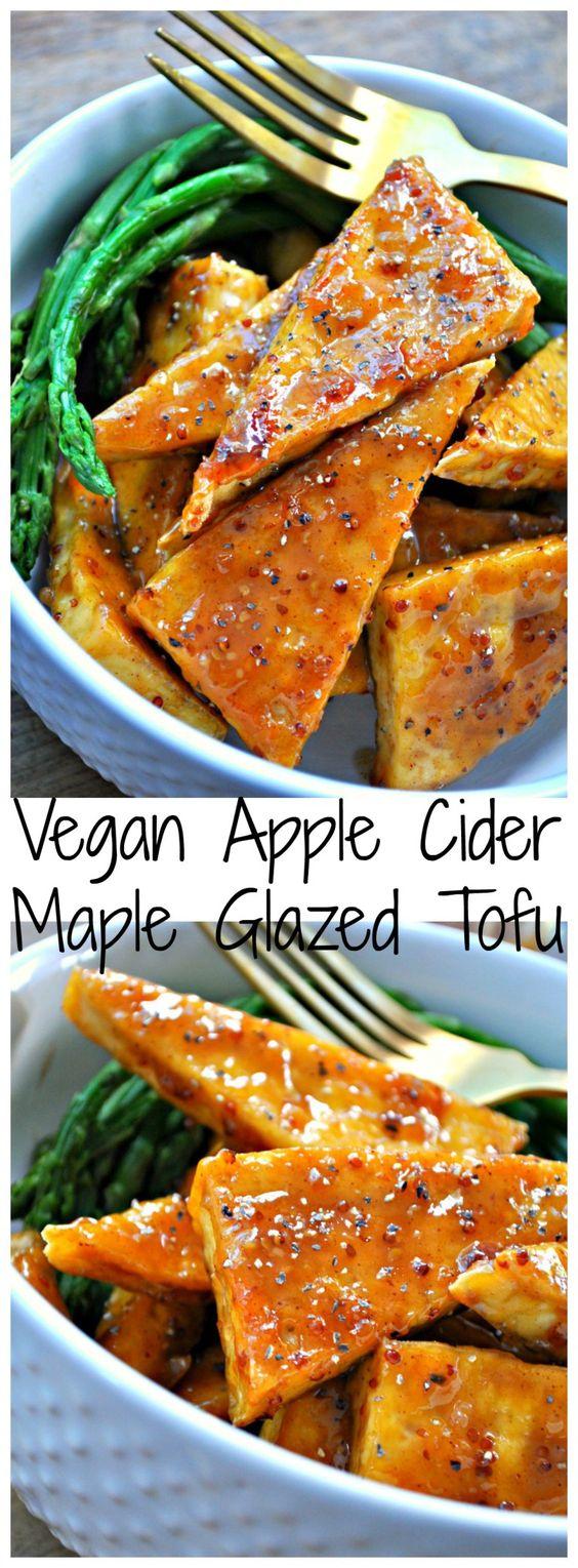 Vegan Apple Cider Maple Glazed Tofu