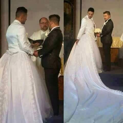 Photo: Erm... Gay men now wear wedding gowns?