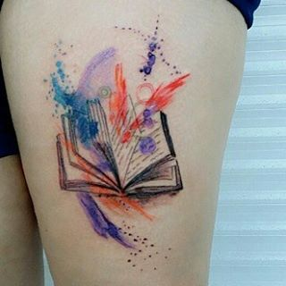 Lovely Watercolor Book Tattoo For Girls