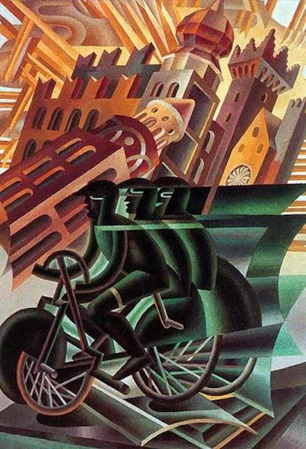 Cartell artístic amb una bicicleta de 1945 de Fortunato Depero
