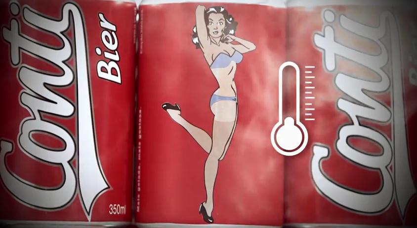 diseño publicitario de cerveza con chica en bikini al estilo pin up.