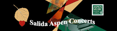 Salida Aspen Concerts poster with an aspen gold aspen leaf and red heart.