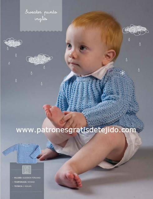 Patrón #1108: Suéter de Bebe en Dos Agujas