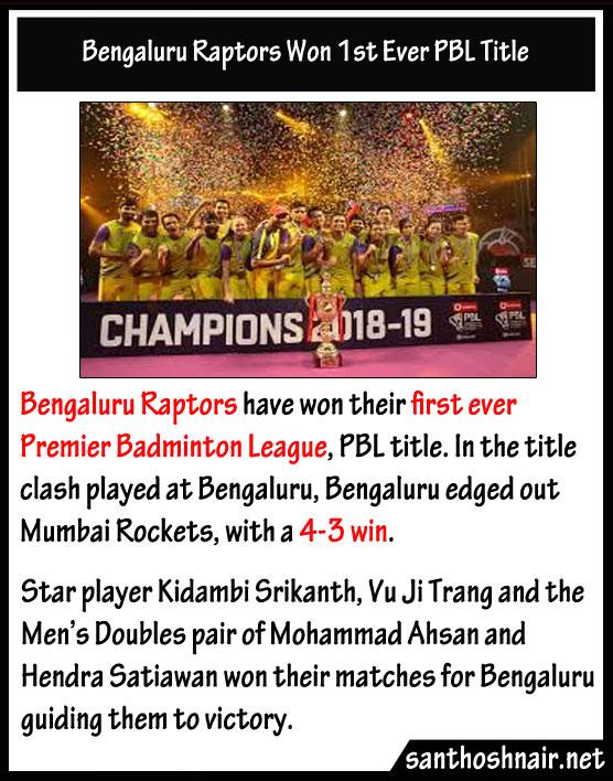 Bengaluru Raptors won First Ever PBL Title
