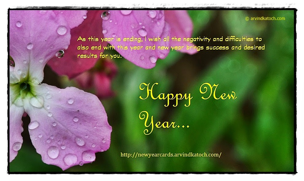 Happy New Year, Flower, Card, difficulties, negativity, success,