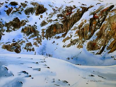 #Aquarelle montagne #Les Ecrins #Rhône Alpes