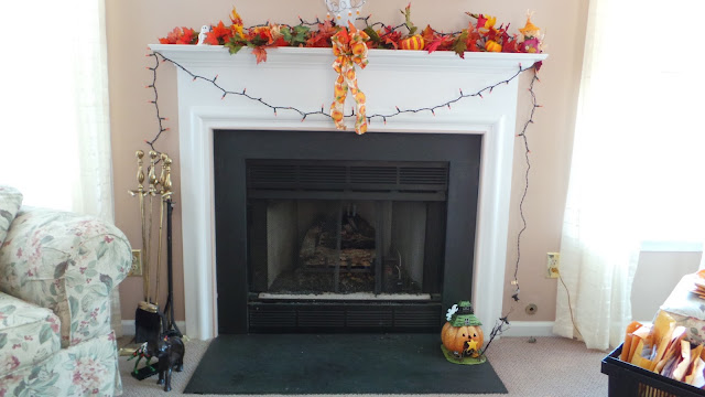 Fireplace with beautiful fall leaves
