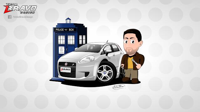 Imagem com o desenho na versão cartoon de um Fiat Punto e seu dono.