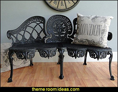 English Garden Bench Furniture Victorian Old Style Cane Seat Metal Lovely Aluminum Chair