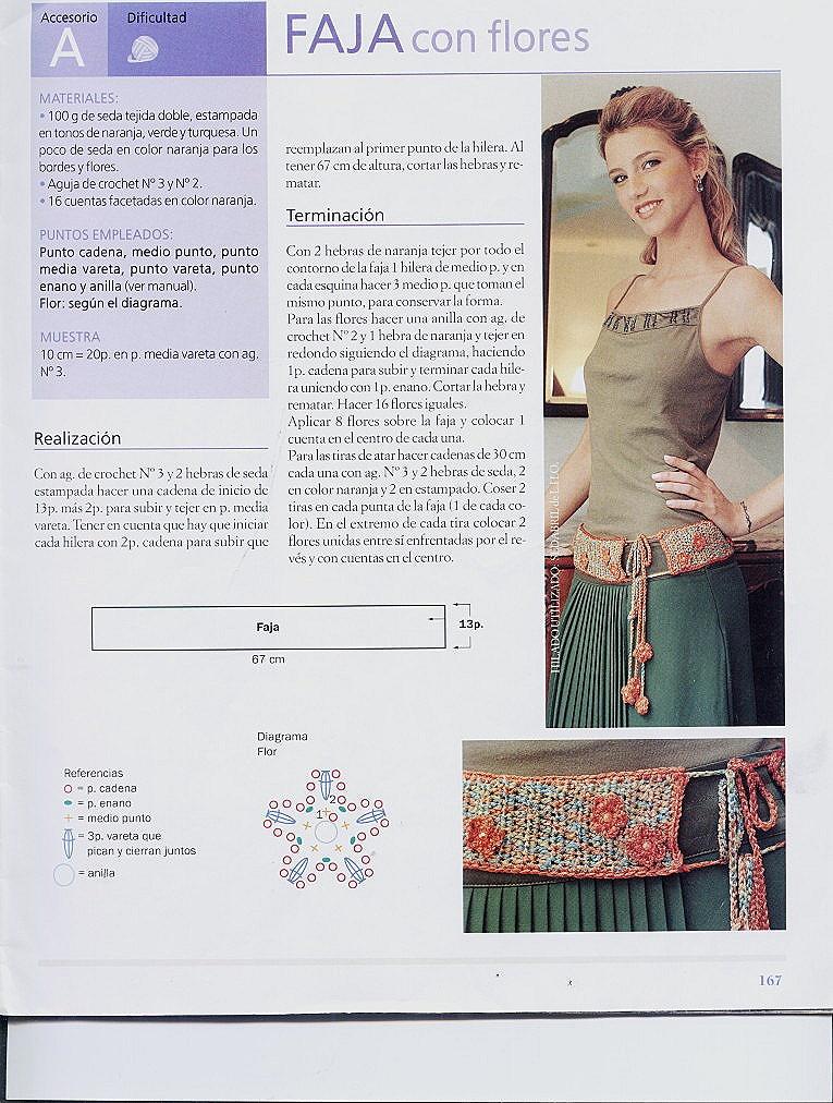 Cinturon de Crochet con Flores