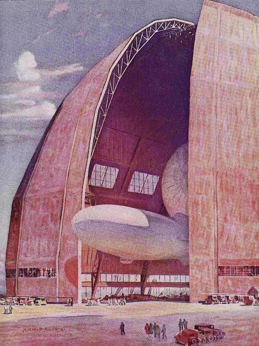 a color illustration of a 1933 dirigible hangar