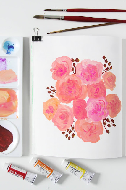 gouache, sketchbook, painting, roses, Anne Butera, My Giant Strawberry