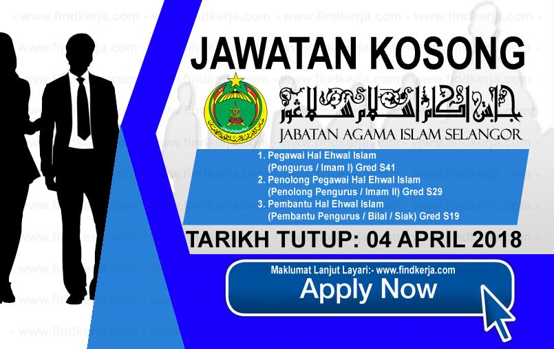 Jawatan Kerja Kosong JAIS - Jabatan Agama Islam Selangor logo www.ohjob.info april 2018