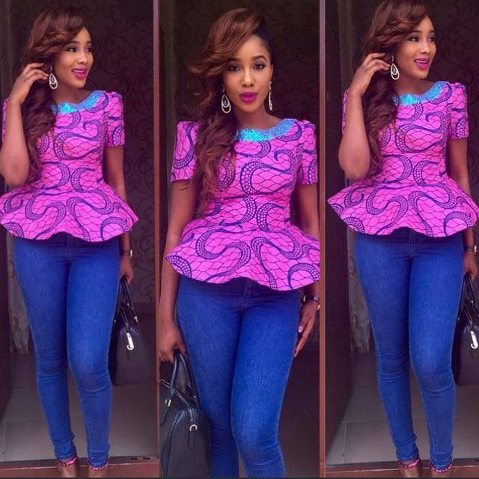 ankara blouse and blue jeans (3)