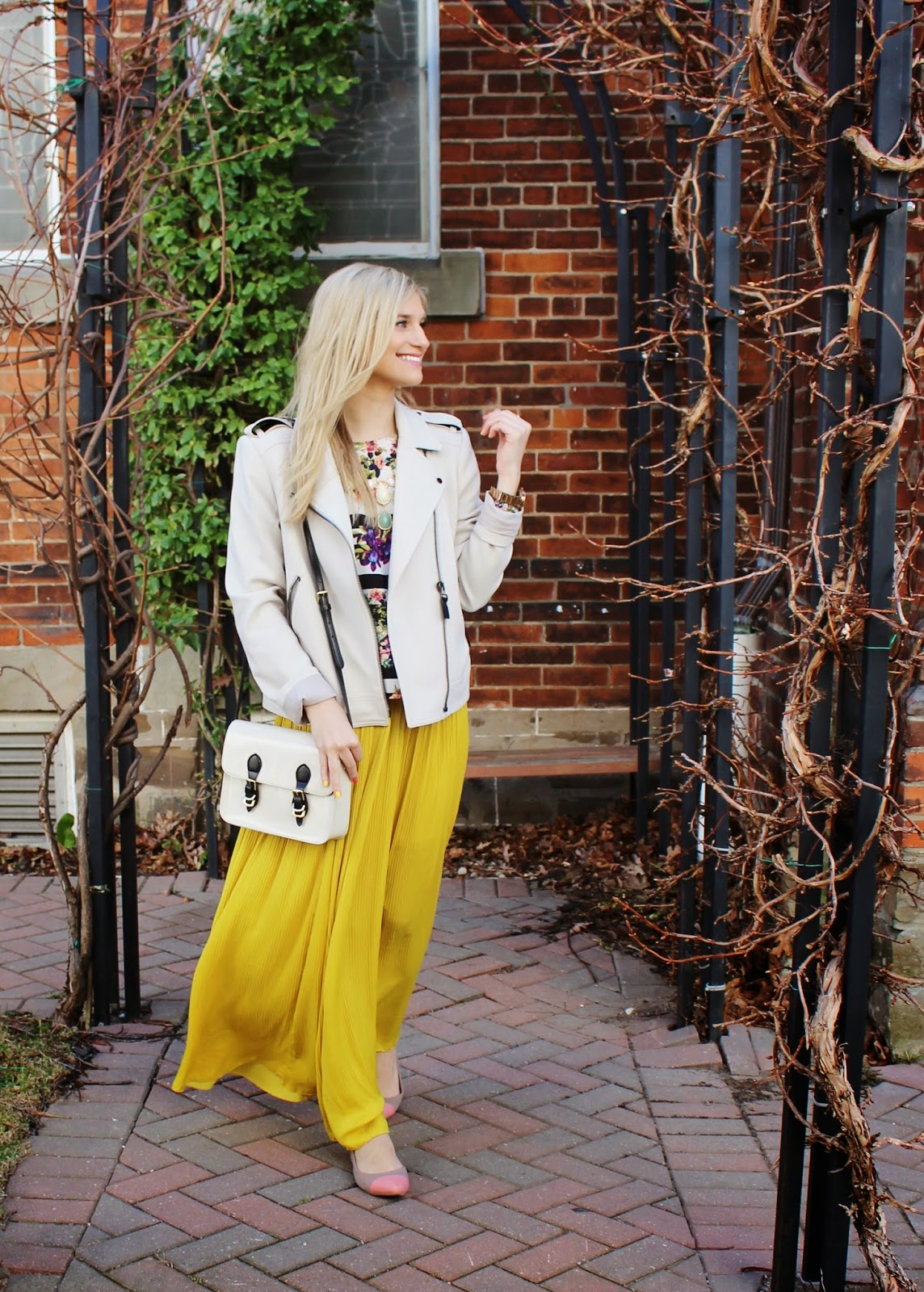 bijuleni - Zara yellow maxi skirt and Ann Taylor jacket