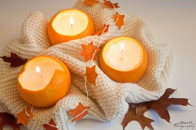 Projet DIY cocooning Bougie en orange