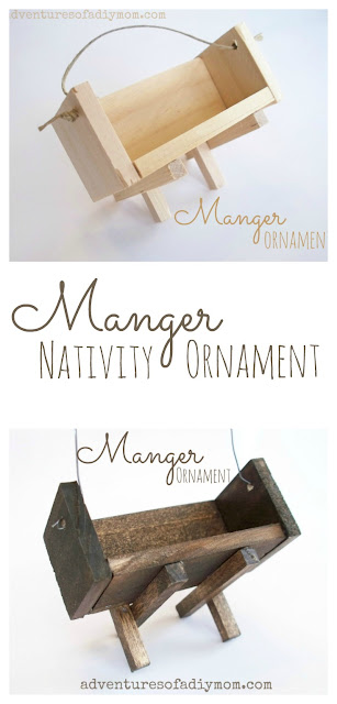 Learn how to make a manger ornament using paint sticks and square dowels. A must have for any nativity themed Christmas tree. #nativityornament #christmasornament #adventuresofadiymom #mangerornament #diynativity #diyornament