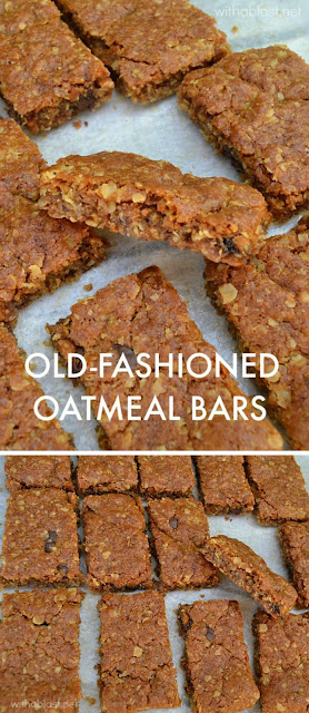Mix-n-bake Old-Fashioned gooey Oatmeal Bars ~ perfect snack to add to the lunch box