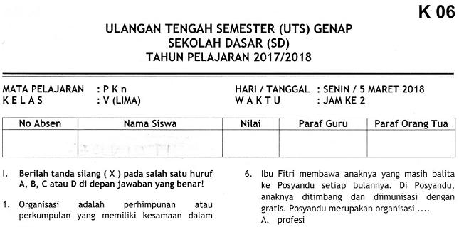 Soal UTS 2 PKn Kelas 5 Terbaru dan Kunci Jawaban