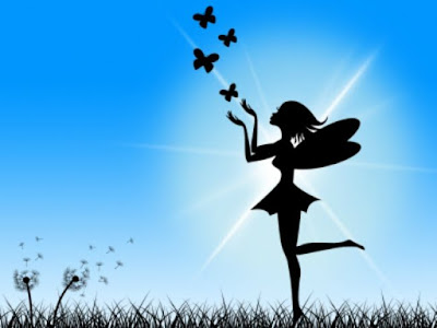 Silhouette of fairy with butterflies on blue background