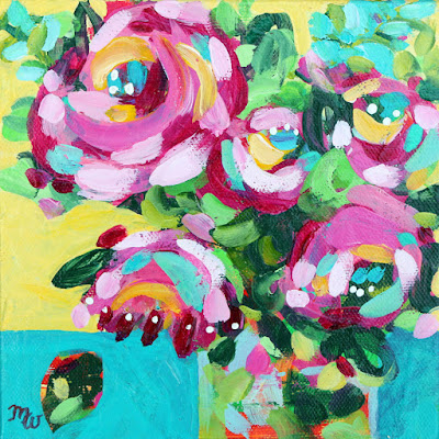 """Original joy-filled floral painting 6"""" x 6"""" acrylic on stretched canvas Framed with a natural wood floater frame,  wired and ready to hang One in a series of framed floral mini paintings by Pennsylvania artist, Merrill Weber"""