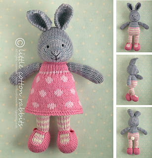 knitted stuffed girl bunny rabbit with removable clothing to knit for Easter