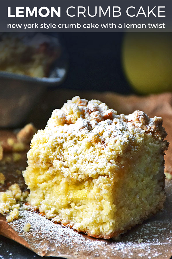 Lemon Crumb Cake is a New York style crumb cake with tangy lemon curd swirled throughout the sweet cake and topped with a crumb topping that will have you licking the plate to gobble up every scrumptious last morsel.