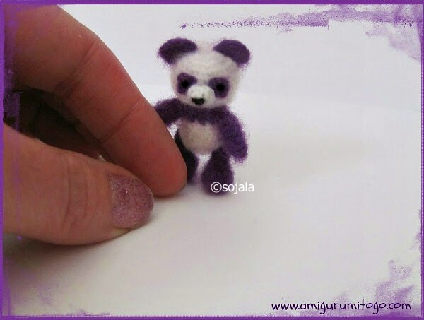 Amigurumi Panda Bear Crochet Pattern : Miniature purple panda crochet thread pattern amigurumi to go