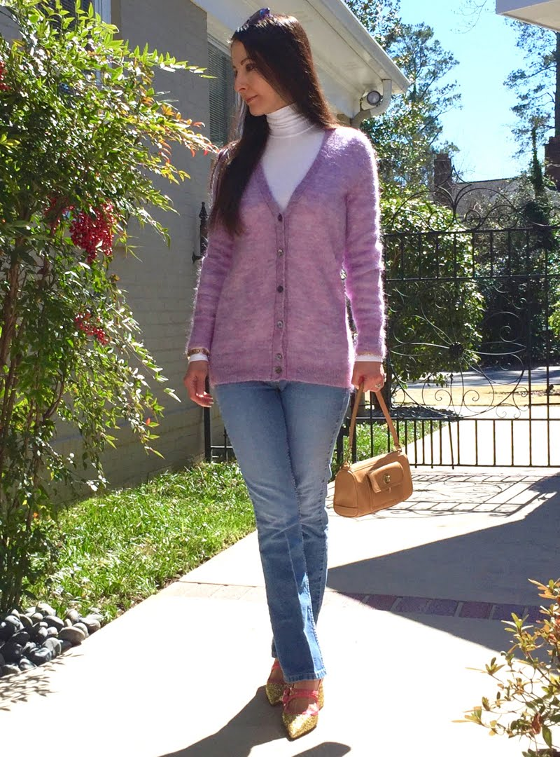 Lavender and Blue Jeans Outfit - leggs crossed.