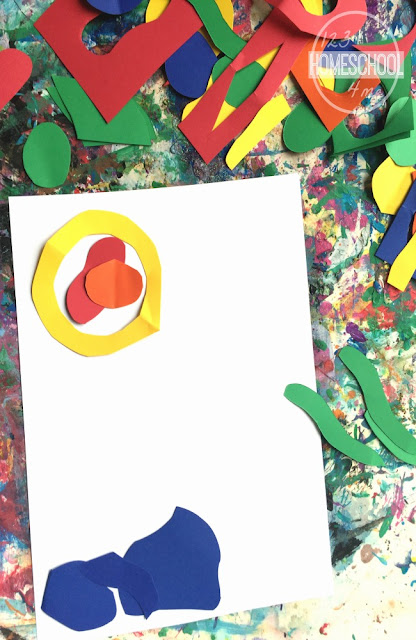 glue shapes to cardstock to make your Matisse art project for kids