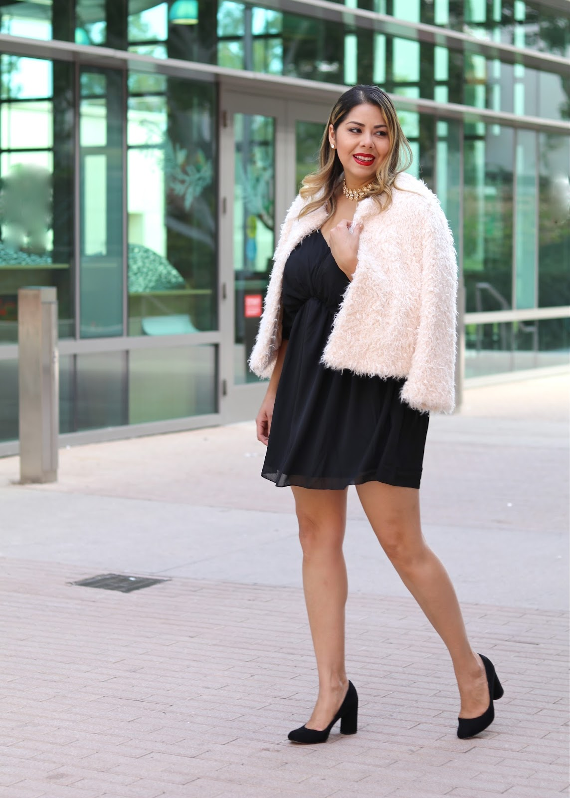Faux Fur Holiday Look, how to wear a fuzzy jacket, how to wear a faux fur jacket, lbd for the Holidays