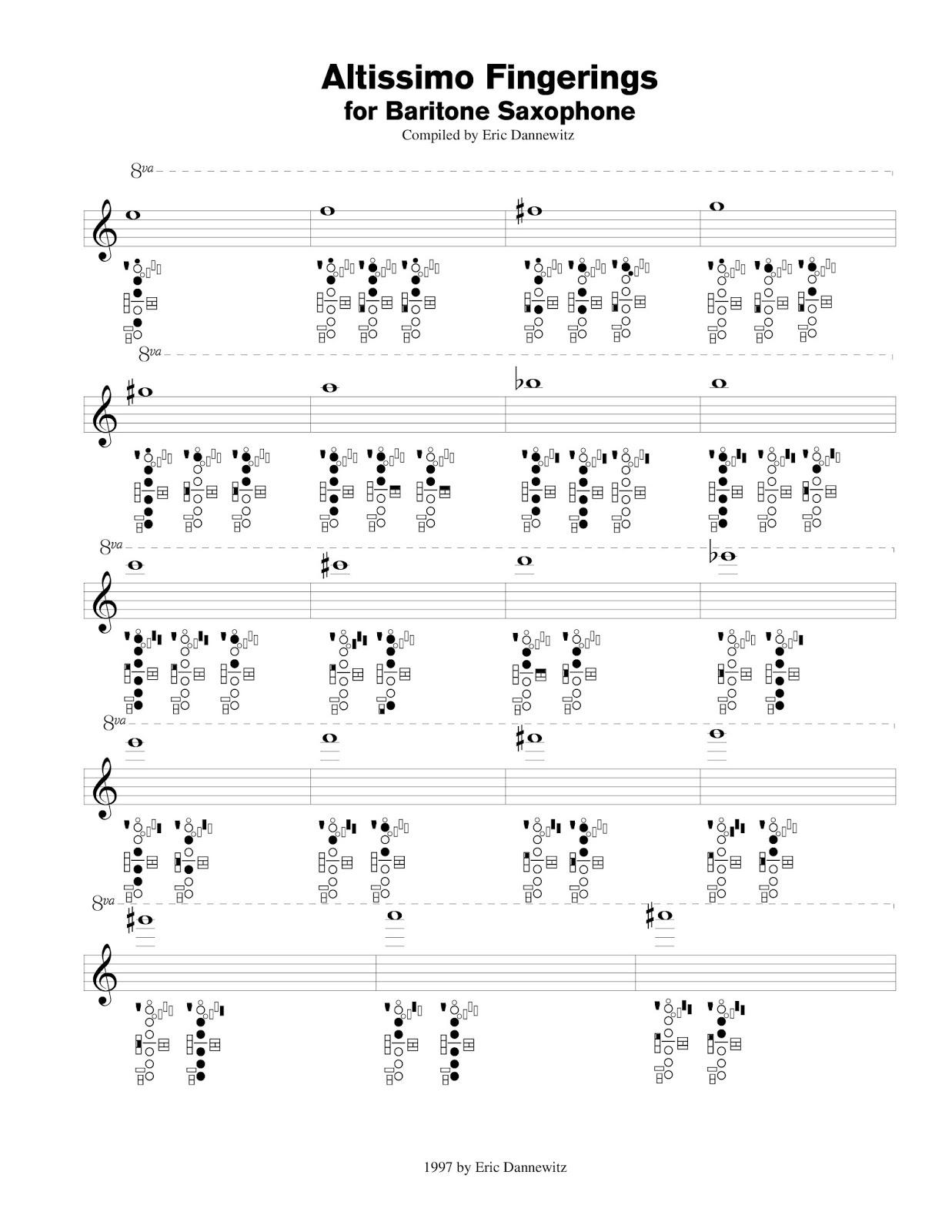 Altissimor Chart For Baritone Saxophone