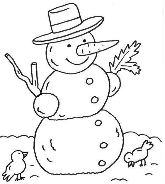 Tranh tô màu người tuyết và hai con chim