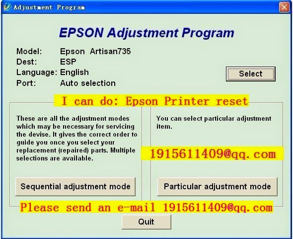 Reset epson l210 Adjustment Program