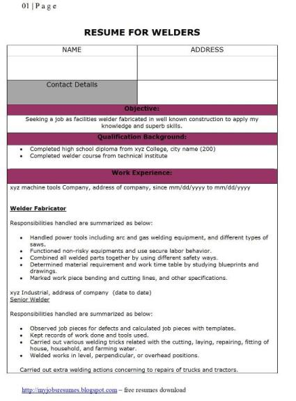 Welders Resumes  Sample Welder Resume